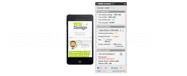 Émulateur de téléphone mobile pour consulter la responsivité de votre site internet