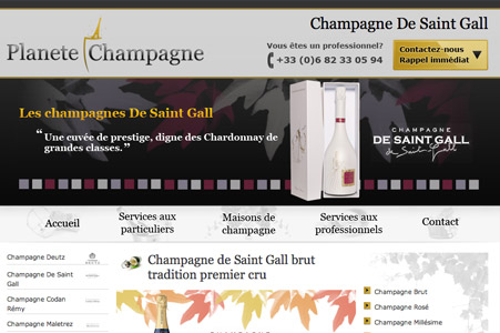 Creation site internet Planete Champagne (site vitrine)