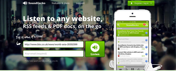 SoundGecko – Écoutez n'importe quel site internet, RSS, docs & PDF en déplacement