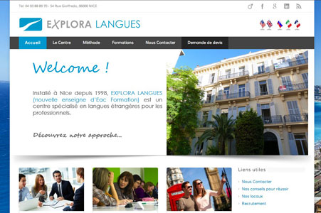 Creation site internet Explora Langues