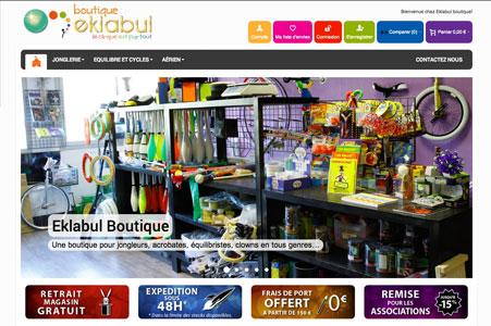 Création site internet Eklabul – Matériel de Cirque