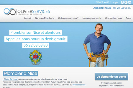 Creation site internet Olivier Services – Plomberie Nice