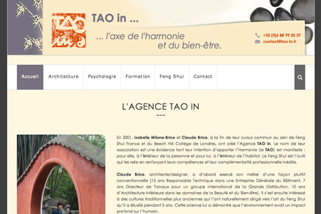 Création site internet de l'agence Tao in – Psychologie chinoise, formations et architecture Feng Shui