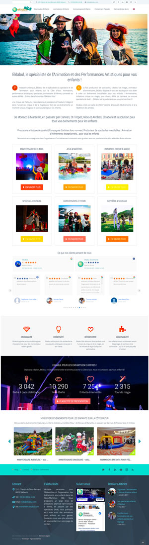 Création site internet - Eklabul Kids - Anniversaire enfant