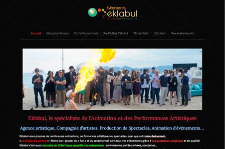 Création site internet Eklabul Evénement – Agence artistique Cannes