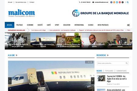Création site internet Malicom – Actualité Mali